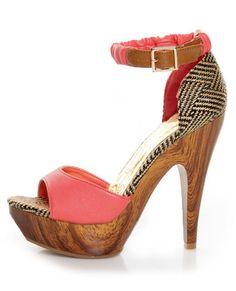 Mona Mia Trinidad Coral, Black & Tan Woven Platform Heels
