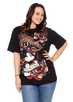 ed480f310e558 Disney Mickey Mouse The One  amp  Only Butterfly Floral Tattoo Art Plus  Size Shirt