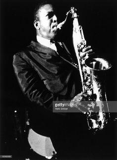 Jazz musician John Coltrane playing saxophone.