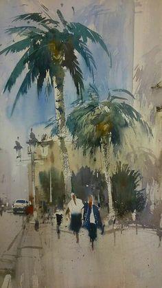 Lorca Watercolor Pictures, Watercolor Artists, Watercolor Architecture, Watercolor Landscape, Cool Art Drawings, Watercolour Painting, Watercolours, Urban Sketching, Art For Art Sake
