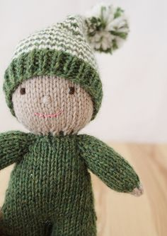 Custom knitted baby elf doll, stuffed waldorf style wool softie.