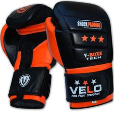 VELO Leather Gel Shock Boxing Gloves Fight Punch Bag MMA Muay thai Grappling AU