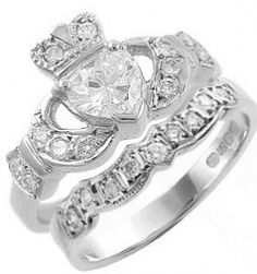 Claddagh Ring Set with Heart Shaped Diamond
