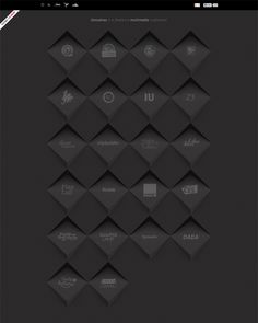 curious and different portfolio using 3D renders to display clients... Like the use of blacks...