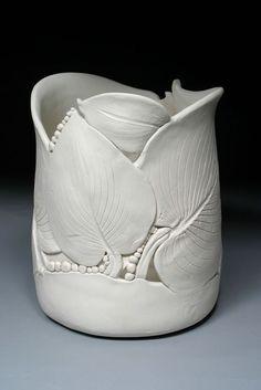 Hosta leaf pottery vase by Nancy Monsebroten: