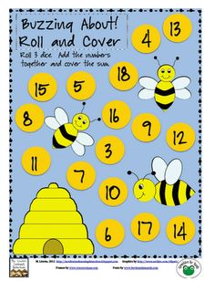 Buzzing About! Adding 3 Numbers Roll and Cover {Free} by Mary Lirette Math For Kids, Fun Math, Math Games, Math Activities, Spring Activities, Preschool Math, Kindergarten Math, Teaching Math, Teaching Resources