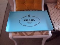 Hand Painted Prada Milano Light Blue and Black by SweetViolet2, $59.00