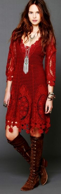 I love the color of the dress and the boots, I think, are even better. http://www.pinterest.com/TheLadyApryle/hobohemia/