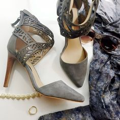 Gray Laser Cut Strappy Pumps Details: • Size 8.5 • Back zip • Tonal gray leather/suede  • Brand new in box   11051503 Joe's Jeans Shoes Heels