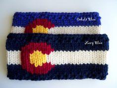 Chunky Knit Colorado Flag Earwarmer by ShortKnits on Etsy Mountain Hat, Yarn For Sale, Ear Warmers, Knitting Projects, Crocheting, Headbands, Knitted Hats, Knit Crochet, Colorado