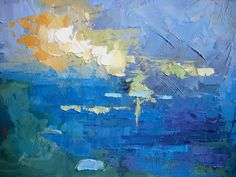 """Seascape Artists International: Abstract Seascape, Daily Painting, """"Tropical Blues"""" by Carol Schiff, Oil Selling Paintings, Abstract Canvas, Abstract Paintings, Landscape Paintings, Abstract Landscape, Original Art, Canvas Prints, Fine Art, Artwork"""