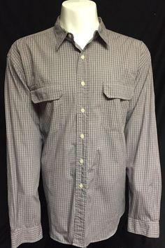 Polo Ralph Lauren Gray Checked XXL Long Sleeve Button Front Shirt 2XL #PoloRalphLauren #ButtonFront
