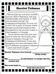 Harriet Tubman Reading Passage | Reading passages, Reading ...