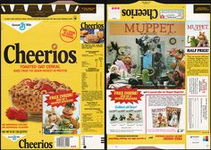 general mills cereal boxes | General Mills - Cheerios cereal box - Muppet Stickers - Muppet ...