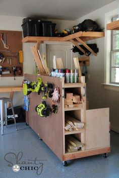 No one really likes to have a messy garage that is full of supplies and sports equipment. Adding some garage storage solutions will help you to organize. Garage Storage Shelves, Lumber Storage, Diy Storage, Storage Cart, Diy Shelving, Stair Storage, Storage Sheds, Outdoor Storage, Wood Storage