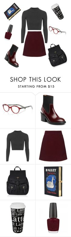 """""""Librarian #velvetjob"""" by violavelvet ❤ liked on Polyvore featuring eyebobs, Acne Studios, Topshop, Accessorize, Olympia Le-Tan, Könitz, OPI, vintage, librarian and velvetjob"""