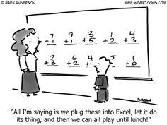 A little Excel humor Teacher Comics, Math Comics, Teacher Cartoon, School Cartoon, Teacher Memes, Math Teacher, Student Memes, Chemistry Teacher, Teacher Stuff