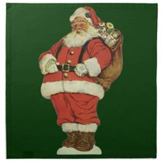 Shop Vintage Christmas, Victorian Santa Claus with Toys Napkin created by ChristmasCafe. Christmas Tree And Santa, Vintage Christmas, Cardboard Display, Cotton Napkins, Fabric Squares, Vintage Shops, Christmas Decorations, Victorian, Tree Lighting