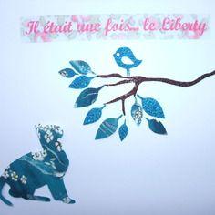 """Appliqués thermocollants liberty chat pamela judith bleu, """"petit chat qui guette un oiseau"""""""