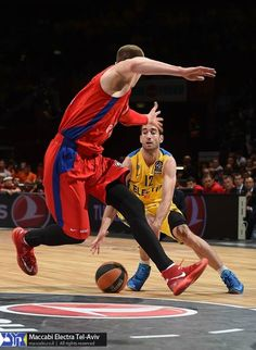"Andrey Vorontsevich,basketball player of CSKA Moscow Basket, was wearing Nike Zoom Hyperrev ""Gym Red"", and Yogev Ohayon, basketball player of Maccabi Tel Aviv, was wearing Nike Hyperdunk 2013 Blue – Wolf Grey during the second Euroleague semifinal match.16.5.2014"