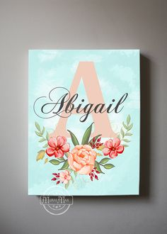 Baby wall art - girls wall art baby name initial canvas art personalized floral girls room decor coral and aqua canvas reproduction Bedroom Canvas, Nursery Canvas, Diy Canvas Art, Canvas Crafts, Canvas Ideas, Canvas Board, Bedroom Wall, Initial Canvas, Initial Art