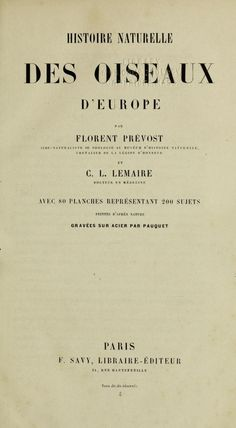 Histoire naturelle des oiseaux d'Europe / - Biodiversity Heritage Library