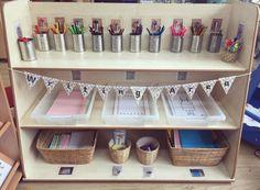 Writing Area ✏️📚💌 Writing Station, Writing Area, Writing Table, Creative Area Eyfs, Creative Curriculum, Preschool Set Up, Preschool Writing, Eyfs Classroom, Classroom Setup
