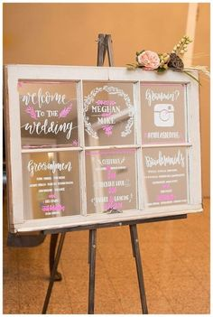 Old window as a wedding sign
