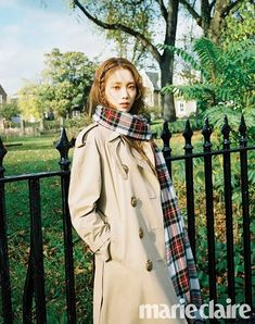 Pictured in Marie Claire KR's December issue, Lee Sung Kyung wears a Burberry trench coat styled with our oversized tartan cashmere Merino wool scarf Lee Sung Kyung Photoshoot, Lee Sung Kyung Wallpaper, Korean Girl, Asian Girl, Kang Sora, Lee Yo Won, Weightlifting Fairy Kim Bok Joo, Korean Actresses, Asian Actors