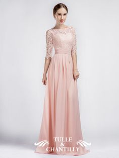 Pink Boat Neck Lace Sleeves Bridesmaid Dress with Chiffon Skirt