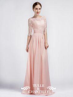 long sleeve elegant floor length peach bridesmaid dress with lace ... bfab09278373