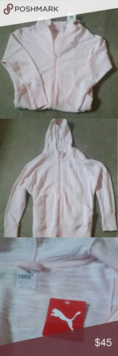 "Puma Break a Sweat Jacket New with tags. Very light pink jacket. Size medium, but runs bigger. Can wear @ the gym, are wear with jeans, shorts, and looks great with leggings too. Has front pockets and a hoodie. From shoulder down its 27.50"" long, and sleeves from shoulder down is 27"" long. Laying flat its 19"" across. Nice warm jacket. Puma  Other"