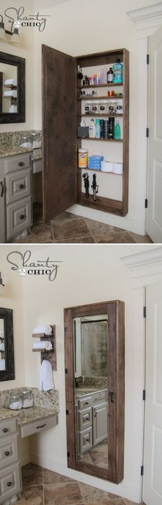 DIY Bathroom mirror storage case that holds everything. - 17 Repurposed DIY Bathroom Storage Solutions | GleamItUp: