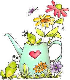 Whipper Snapper Designs My Special Love - Whimsical - Floral/Garden - Rubber Stamps Doodle Art, Doodle Drawings, Cartoon Drawings, Cute Drawings, Art Fantaisiste, Painted Rocks, Hand Painted, Happy Paintings, Watercolor Cards