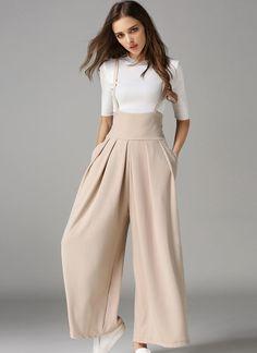 Elegant Loose Long Culottes Wide Leg High Waist Pockets Strap Pants
