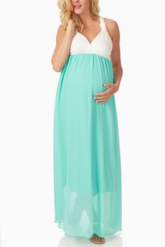 Mint-Green-Chiffon-Colorblock-Maternity/Nursing-Maxi-Dress #maternity #fashion