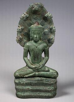 美國大都會藝術博物館收藏品- 12世紀 柬埔寨-[蛇王護法] 青銅像