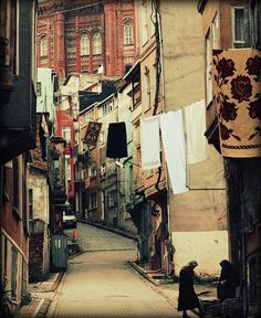 Recently took a trip to Istanbul, Turkey.  Streets really do look like this with clothes hanging. love this photo