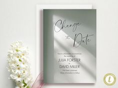 Change The Date - Change of Plans - Wedding Cancellation Announcement - Postponed - Garden Greens Download, YOU PRINT Announcement, Wedding Planning, Dating, Change, How To Plan, Garden, Handmade Gifts, Etsy, Kid Craft Gifts