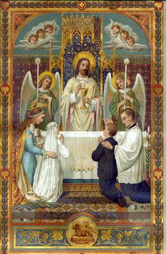 Jesus Gives Eucharist / First Communion – – Based on Vintage Holy Card – Catholic Art Print Catholic Art, Catholic Saints, Roman Catholic, Religious Art, Miséricorde Divine, Divine Mercy, Vintage Holy Cards, Première Communion, Religious Pictures