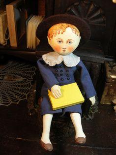 Primitive folk art cloth doll- Gail Wilson style- Kate Greenaway style