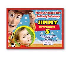 Woody Toy Story Red Stripe Kids Birthday Invitation Party Design