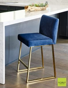 Scout Label Linden Barstool in Brass & Blue Velvet Upholstery. close to my barstools for island or dining table Blue Dining Room Chairs, Bar Chairs, Bar Stools, Dining Table, Blue Velvet Chairs, Velvet Stool, Island Chairs, Restoration Hardware Dining Chairs, Leather Chair With Ottoman