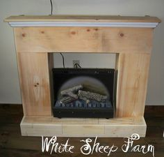 White Sheep Farm: One more Project Completed . Faux Fireplace, Modern Fireplace, Fireplace Surrounds, Fireplace Mantels, Fireplace Ideas, Fireplaces, Wooden Words, Home Selling Tips, Sheep Farm