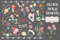 Vector retro flower elements by burlapandlace on @creativemarket