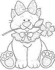 Cute cat to embroider. Colouring Pages, Coloring Sheets, Coloring Books, Tole Painting, Fabric Painting, Cat Template, Templates, Cat Quilt, Quilting