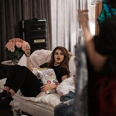 Here she is reclining on the sofa with a giant bag of popcorn, because she's just like us. | We Need To Talk About Selena Gomez's Strong AF Instagram Game