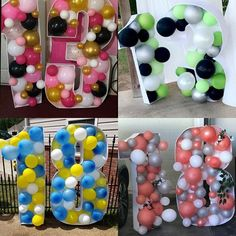 DIY large balloon number mosaic 3 - Hot pink, black & white, and zebra print theme - 3rd birthday large party decoration/backdrop Large Balloons, Black Balloons, Number Balloons, Letter Balloons, Mylar Balloons, Graduation Balloons, Birthday Balloons, Balloon Party, Zebra Birthday