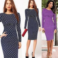 New Womens Fashion Slim Polka Dot Full Sleeve Bodycon Sheath Shift Pencil Midi Dress Size S-XL 3125#, $10
