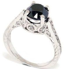 2.69CT Black Diamond Vintage Engagement Ring 14K White Gold Hand Engraved Antique. $797.00, via Etsy.